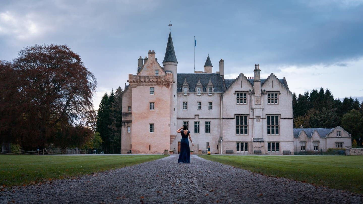 Standing before Brodie Castle in Scotland.