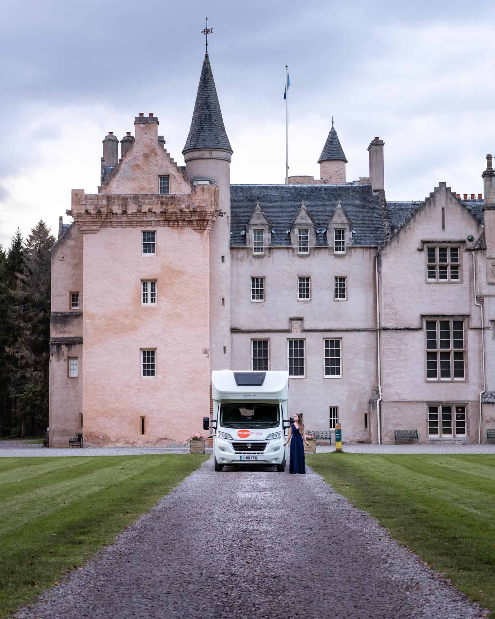 The motorhome I traveled for 10 days in Scotland, parked in front of Brodie Castle.