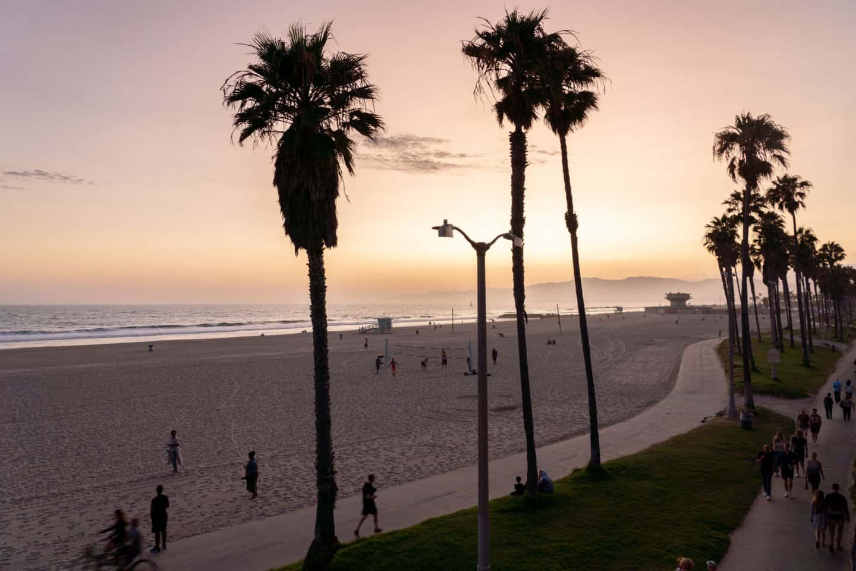Sunset over Venice Beach Boardwalk