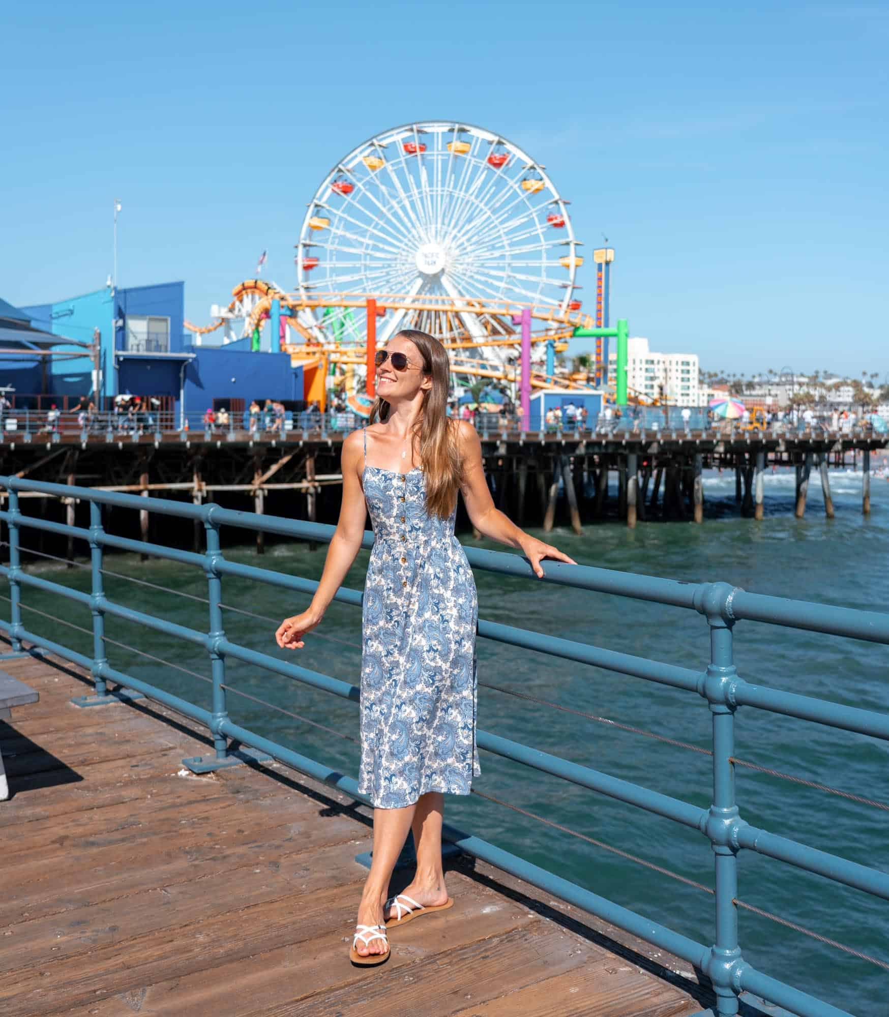 Travels of Sophie at Santa Monica Pier with Ferris wheel in the background
