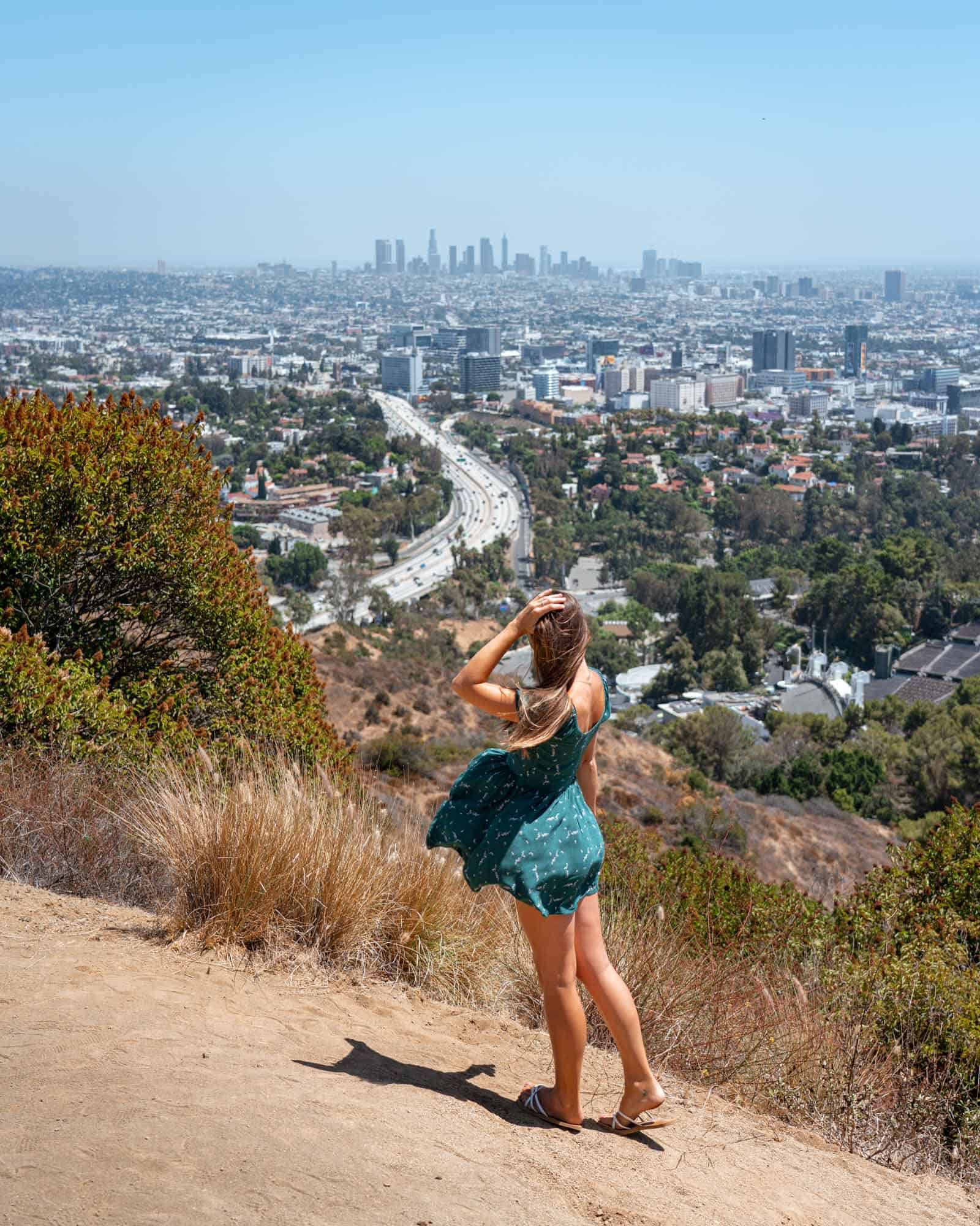 Travels of Sophie enjoying the view from Mulholland Drive Los Angeles