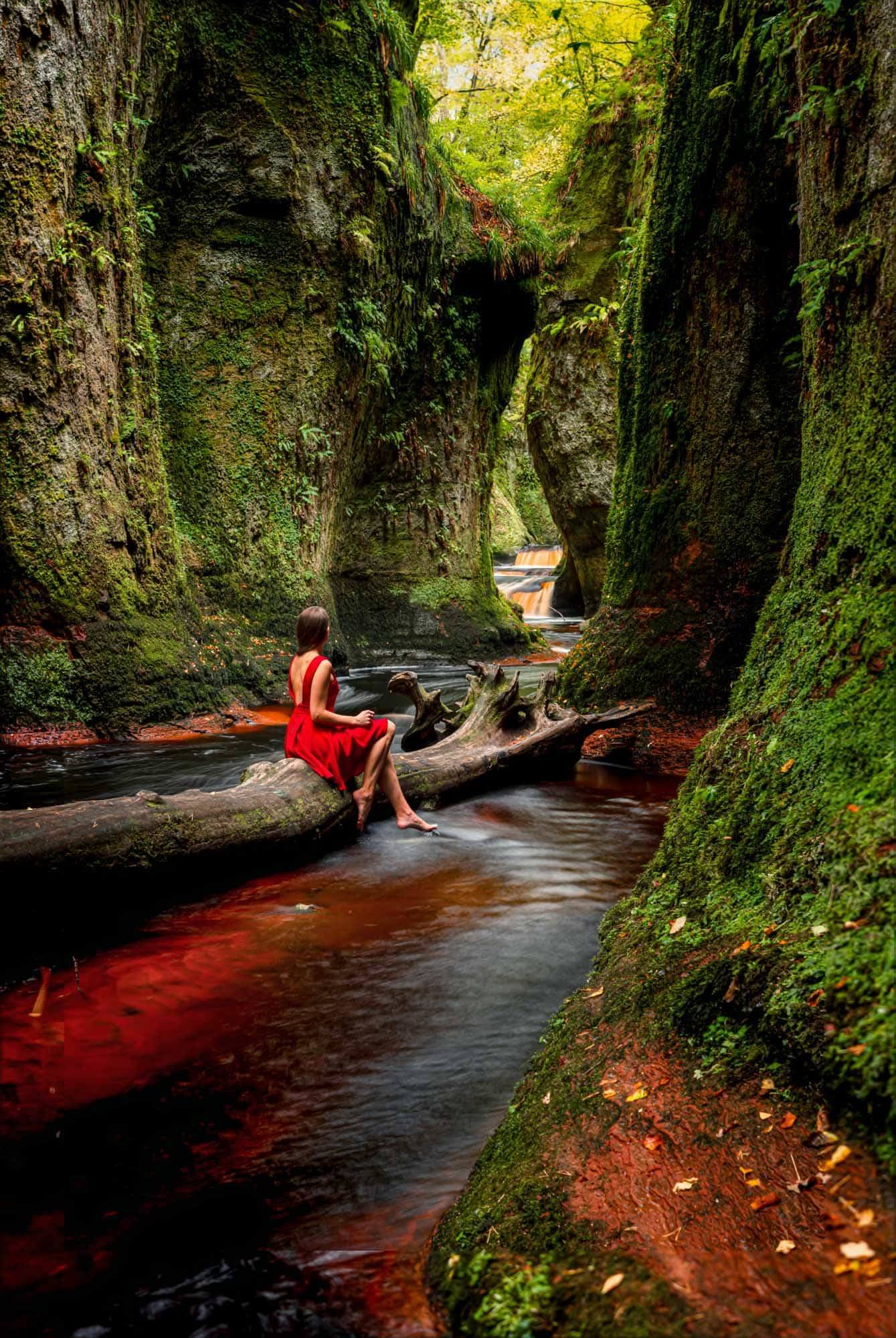 Pretending to be a fairy in the gorge at Finnich Glen on Day 2 of 10 days in Scotland.