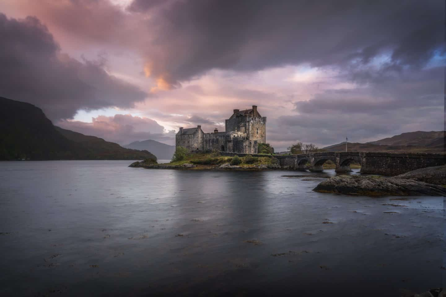 My favorite castle on this Isle of Skye 2 day tour from Edinburgh is Eilean Donan; magical at sunrise or sunset!