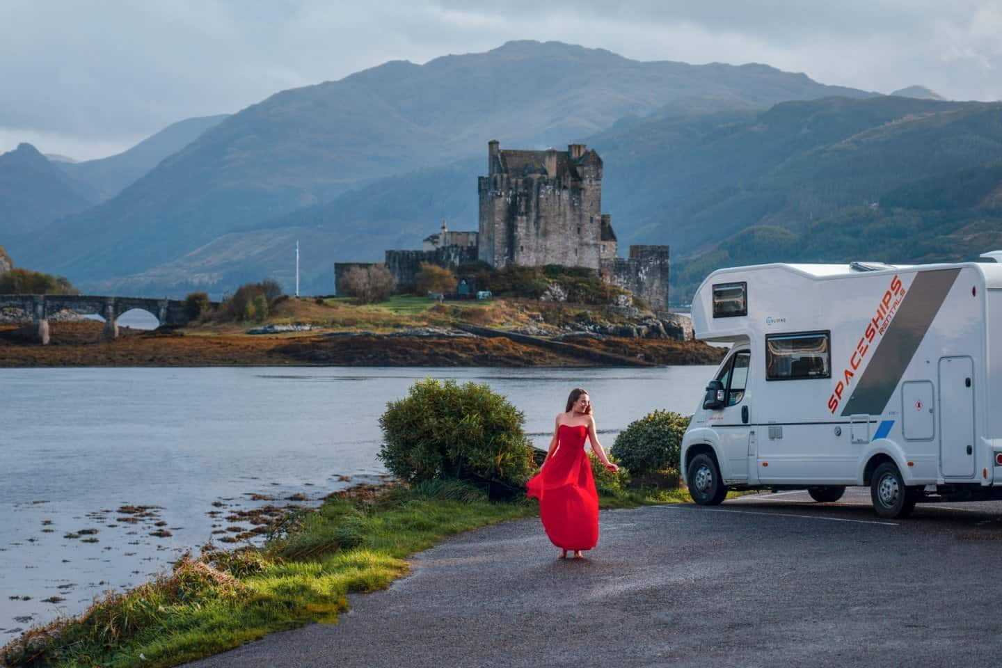 This motorhome parked outside of Eilean Donan Castl shows why it is a great option to chose for a 10 days in Scotland road trip.
