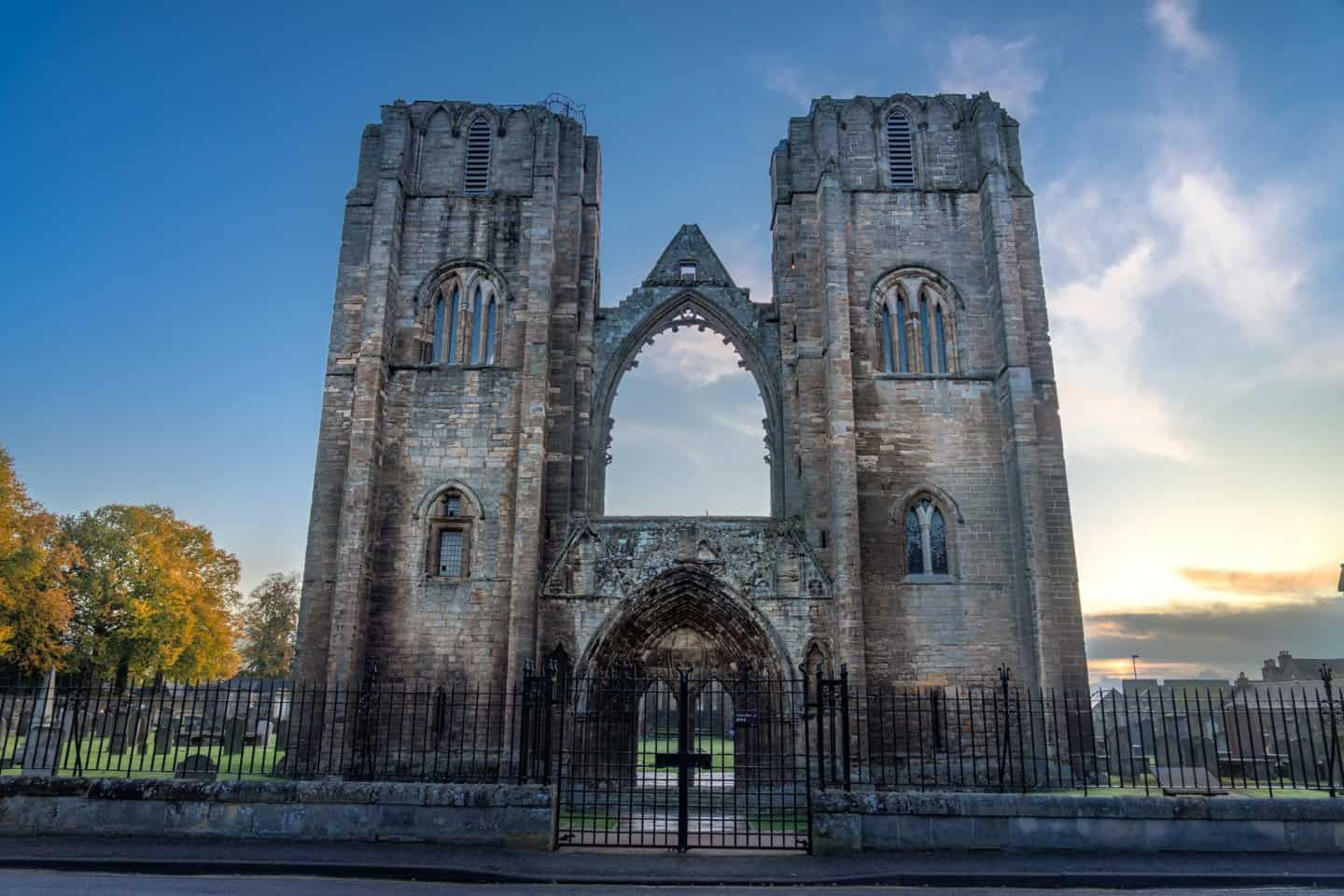 Elgin was one of the biggest surprises during my 10 days in Scotland.  Here is the front gates of Elgin Cathedral at sunrise.
