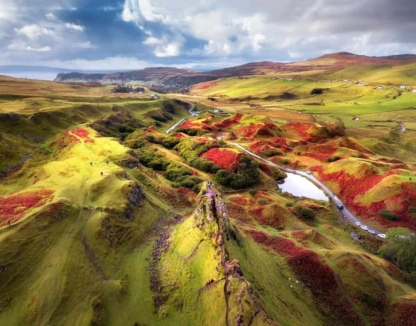 A rare moment of sunshine over 10 days in Scotland as golden light spills onto Fairy Glen, captured by drone.