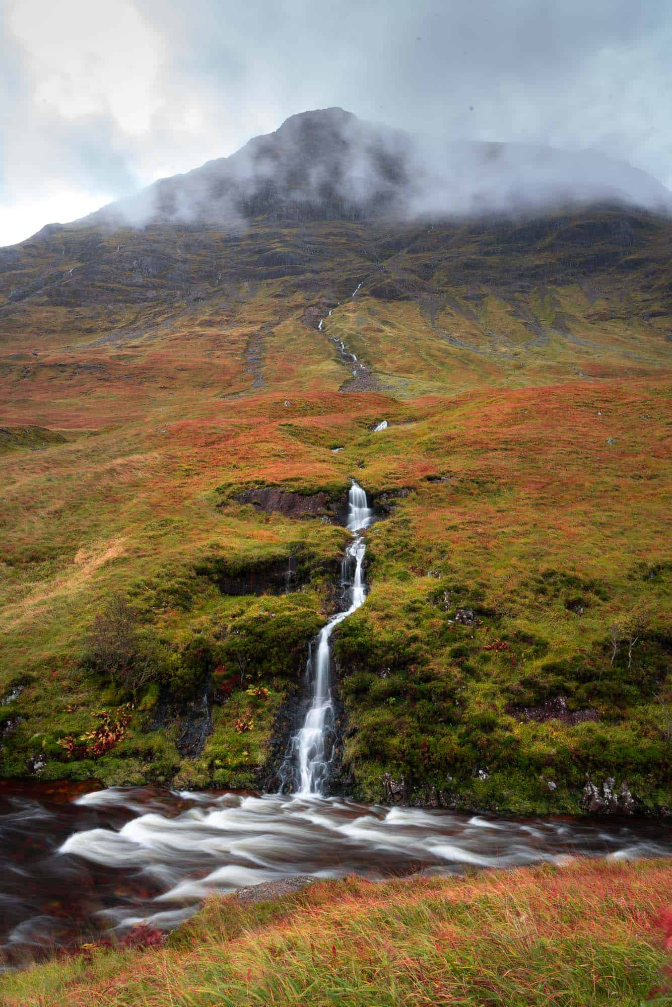 All the rain during my 10 days in Scotland created countless waterfalls on the drive through Glen Etive Road.