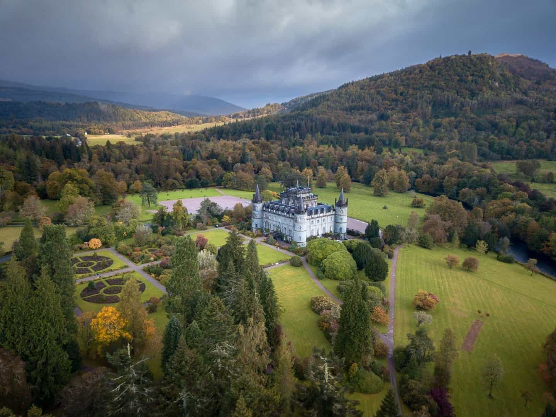 A breathtaking aerial view of Inveraray Castle in Scotland.