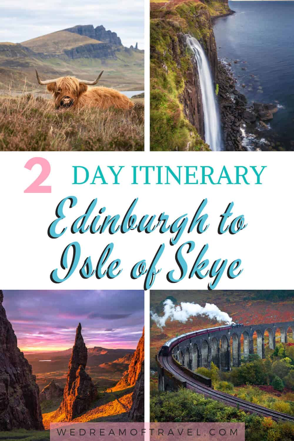 This travel guide covers a two day self-drive road trip itinerary from Edinburgh to Isle of Skye.  It takes in all the best landscapes and castles.  Complete with maps and timings to help you make the most of your time in Scotland!  #scotland #travelscotland #scotlandtravelguide #roadtrip