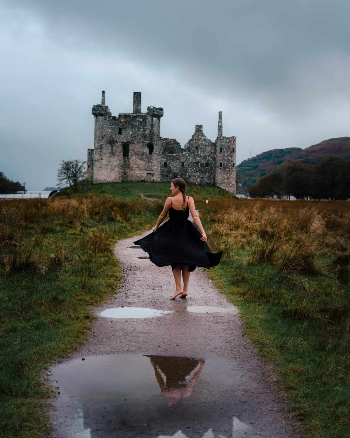 Walking the path to Kilchurn Castle on a moody morning.