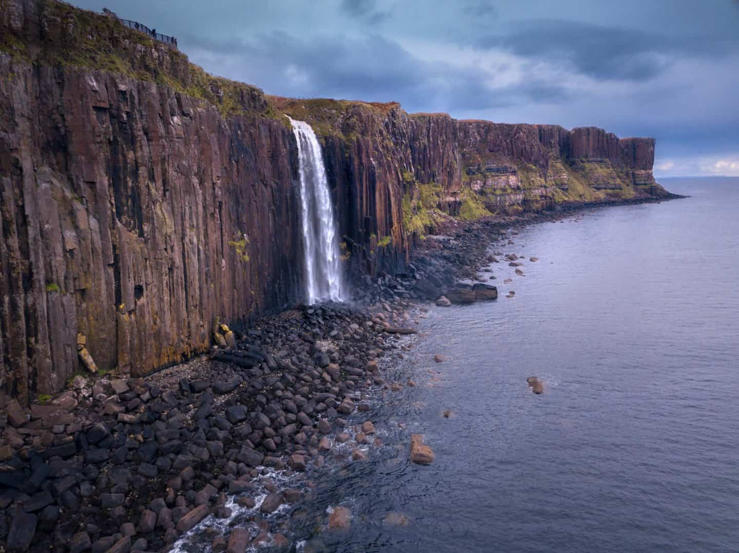A quick stop during 10 days in Scotland is Mealt Falls as it spills into the ocean.
