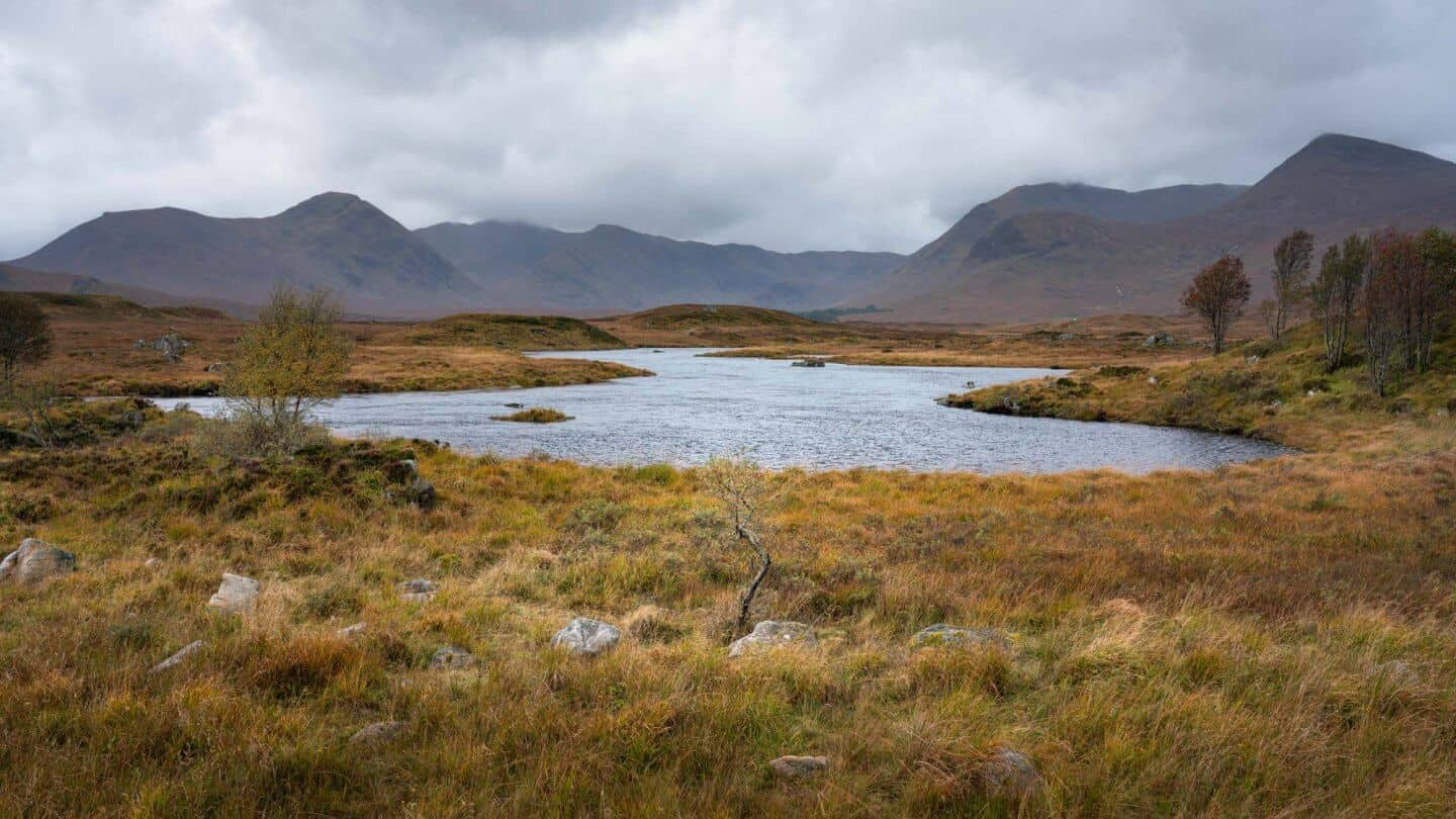 Lochan na h-Achlaise in the Scottish highlands.