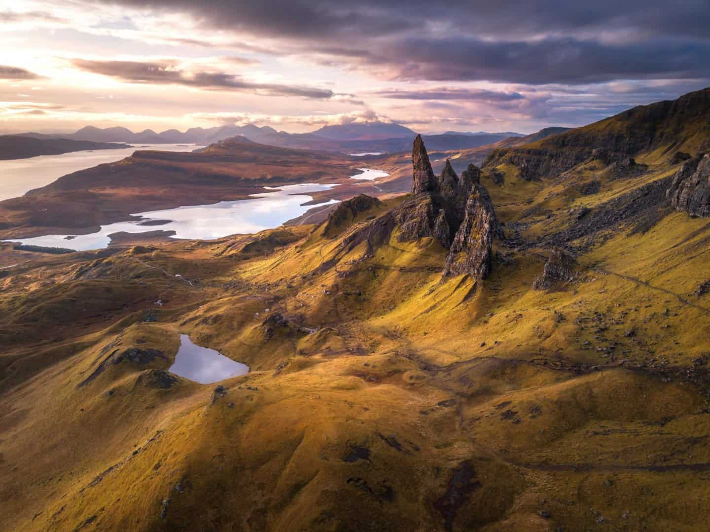 A stunning sunrise at the Old Man of Storr on Isle of Skye.