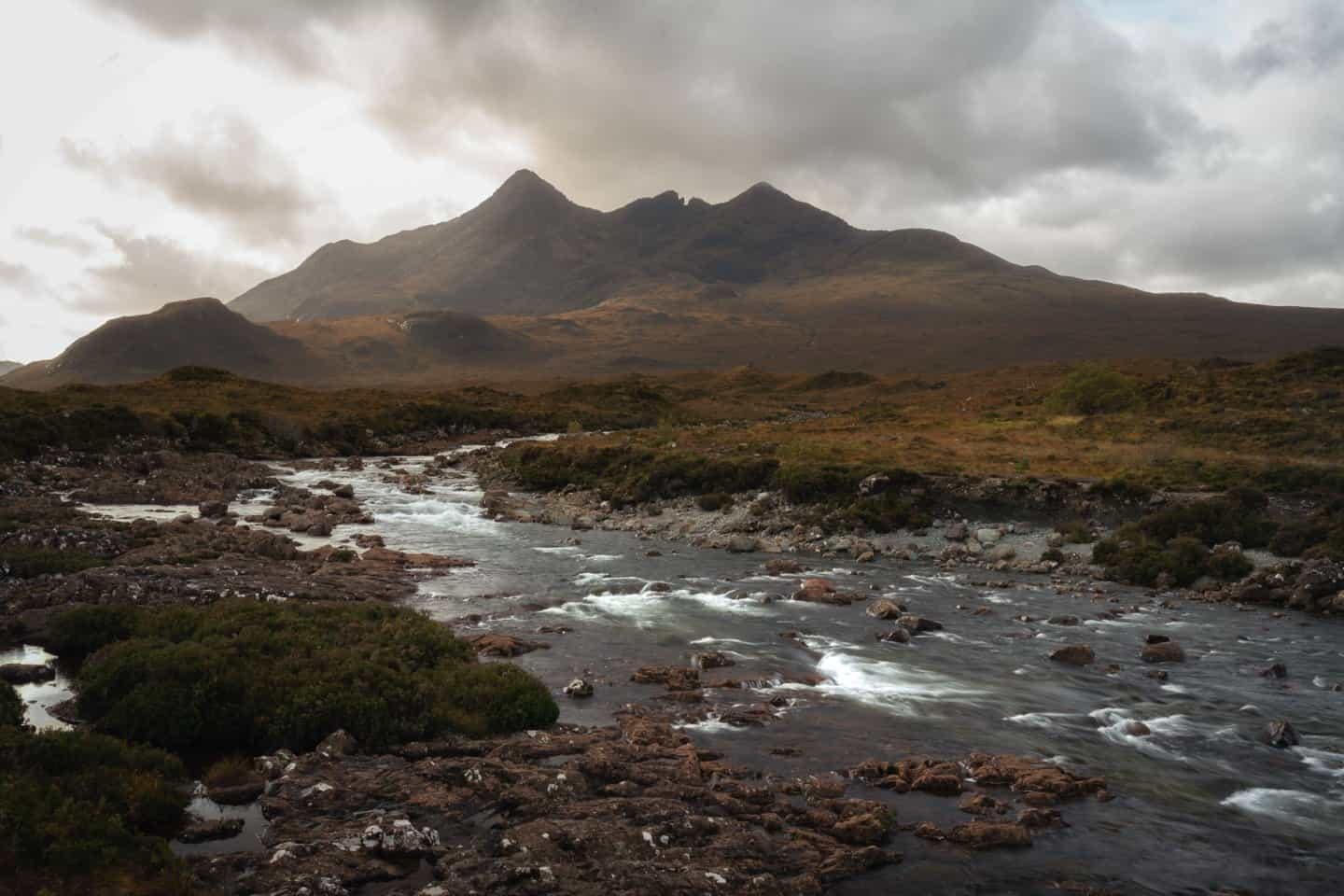The Black Cuillin mountains are missed during most people's 10 day visits to Scotland, seen looming in the distance of Sligachan.