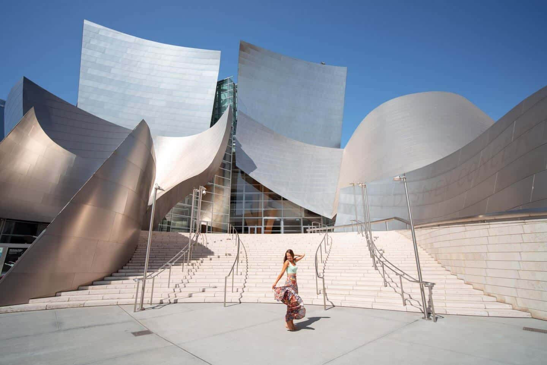Travels of Sophie dancing outside Walt Disney Concert Hall, Los Angeles