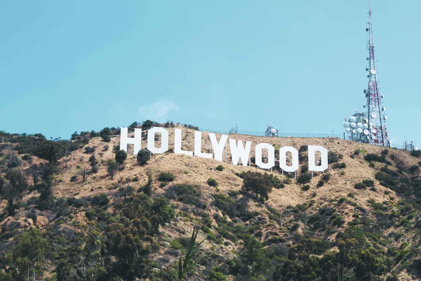 The Hollywood Sign in Los Angeles as seen from the hiking trail