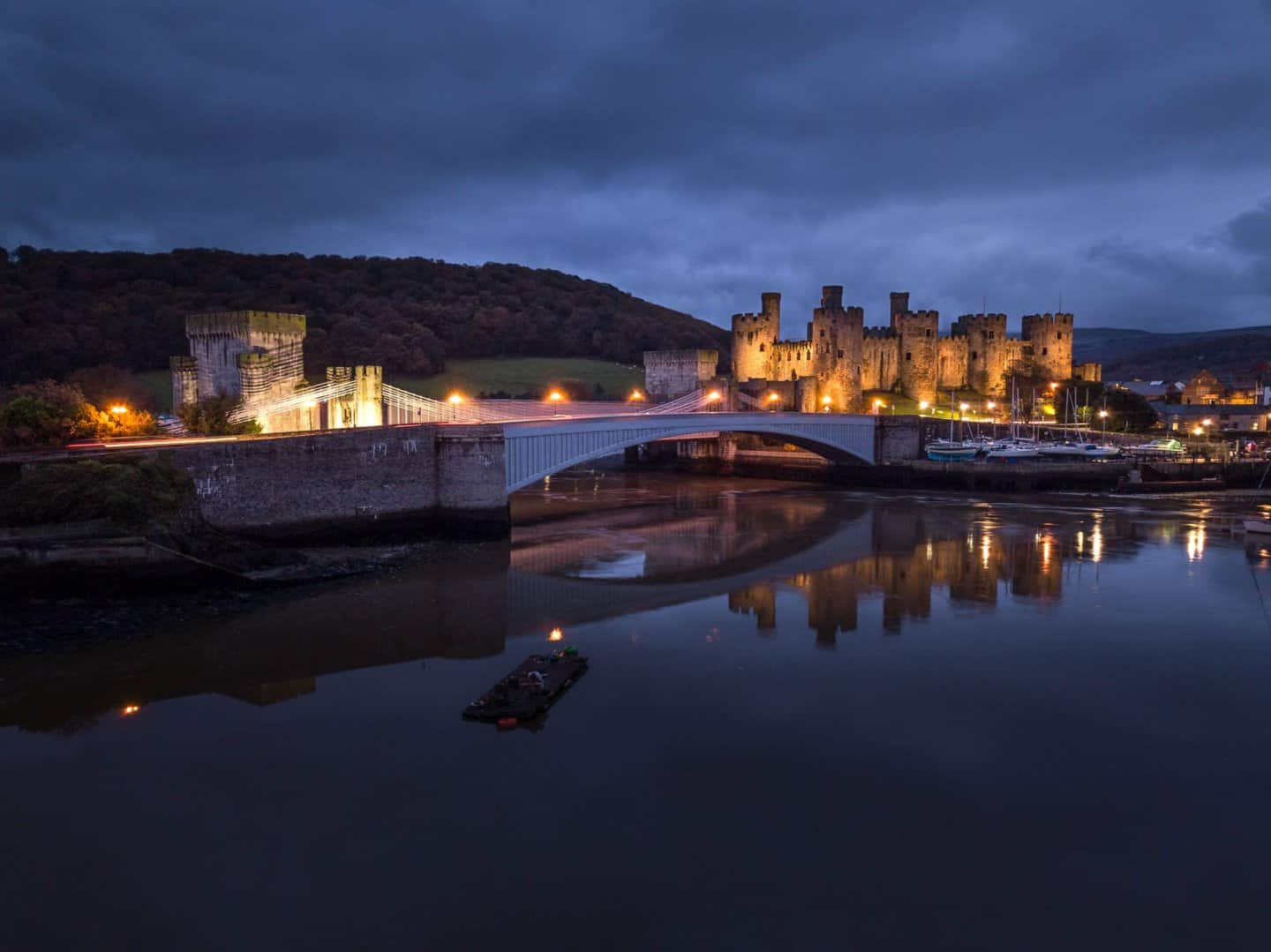 Night photography at Conwy Castle.