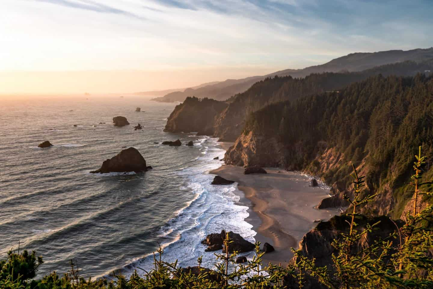 Golden hour photography of Indian Sands on the Oregon Coast.