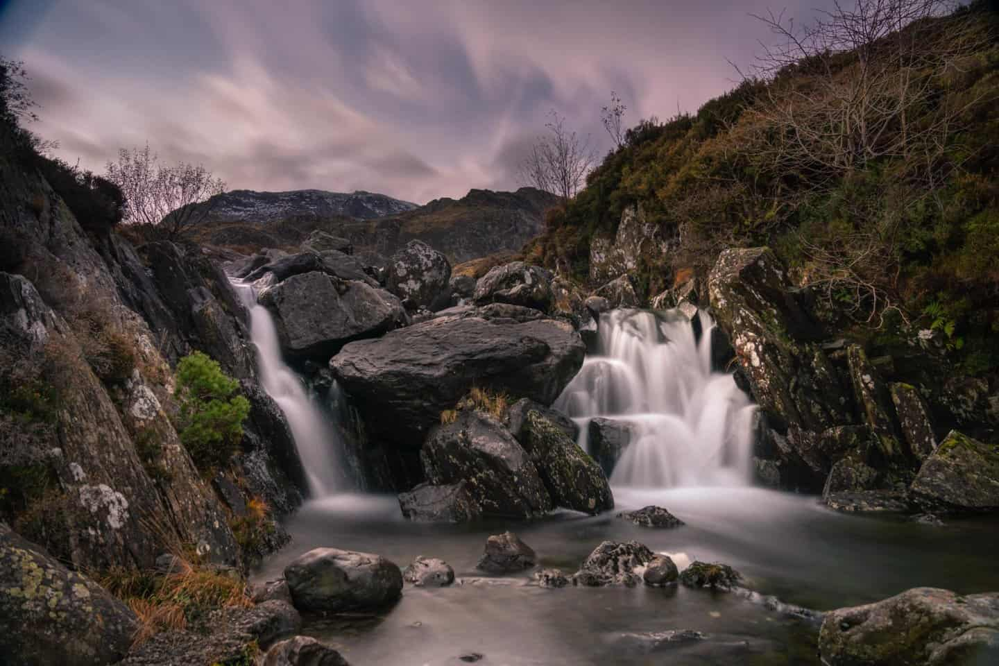 One of many Snowdonia photography locations that feature a waterfall.