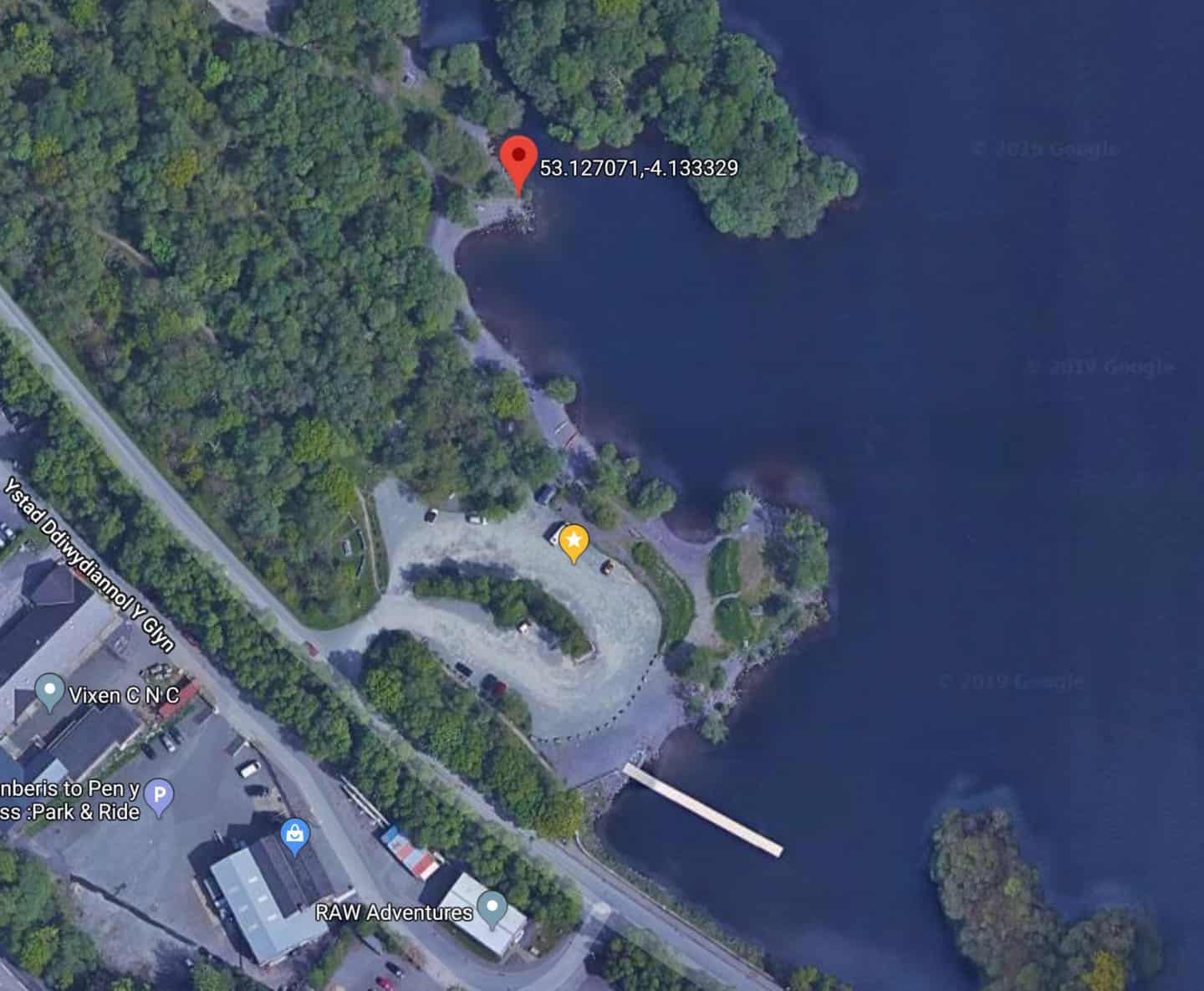 A Google satellite image of the parking and location of Lonely Tree.