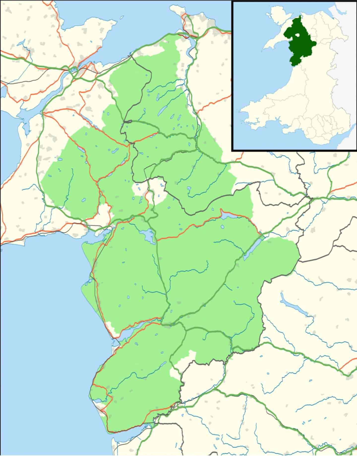 A map of the area Snowdonia National Park comprises in Wales.