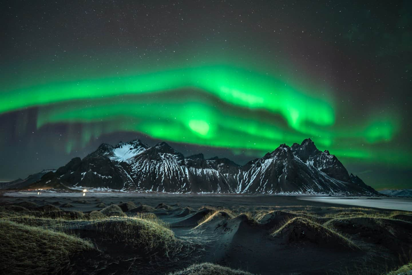 Aurora photography captured at Mt Vestrahorn in Stokksnes, Iceland.
