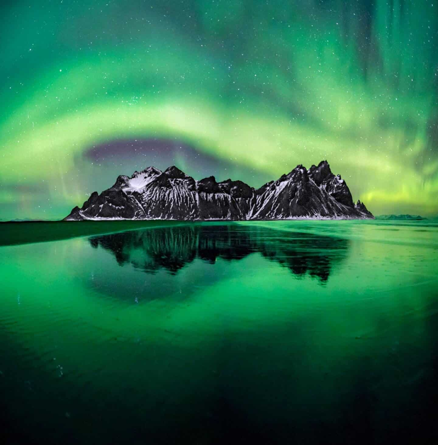 Photographing aurora at the amazing Mt Vestrahorn in Iceland.