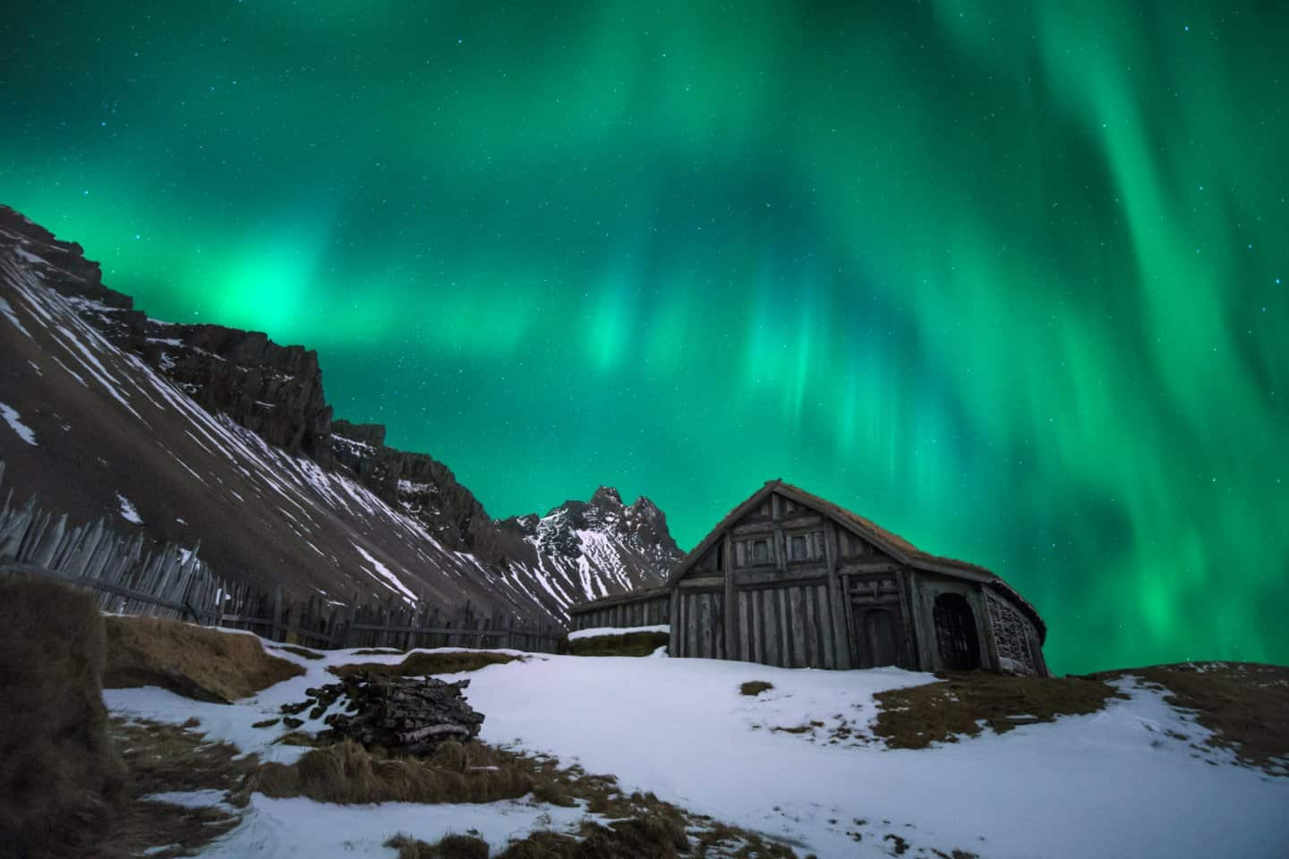 Shutter speed is important when photographing aurora.  Taken at the Viking Village in Iceland.