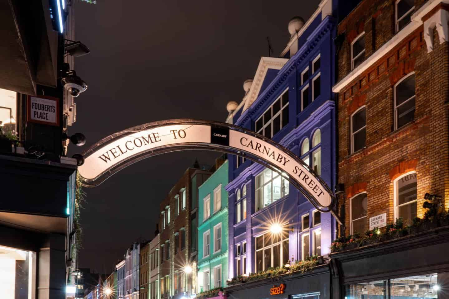 Colourful Carnaby Street famous road in London for shopping