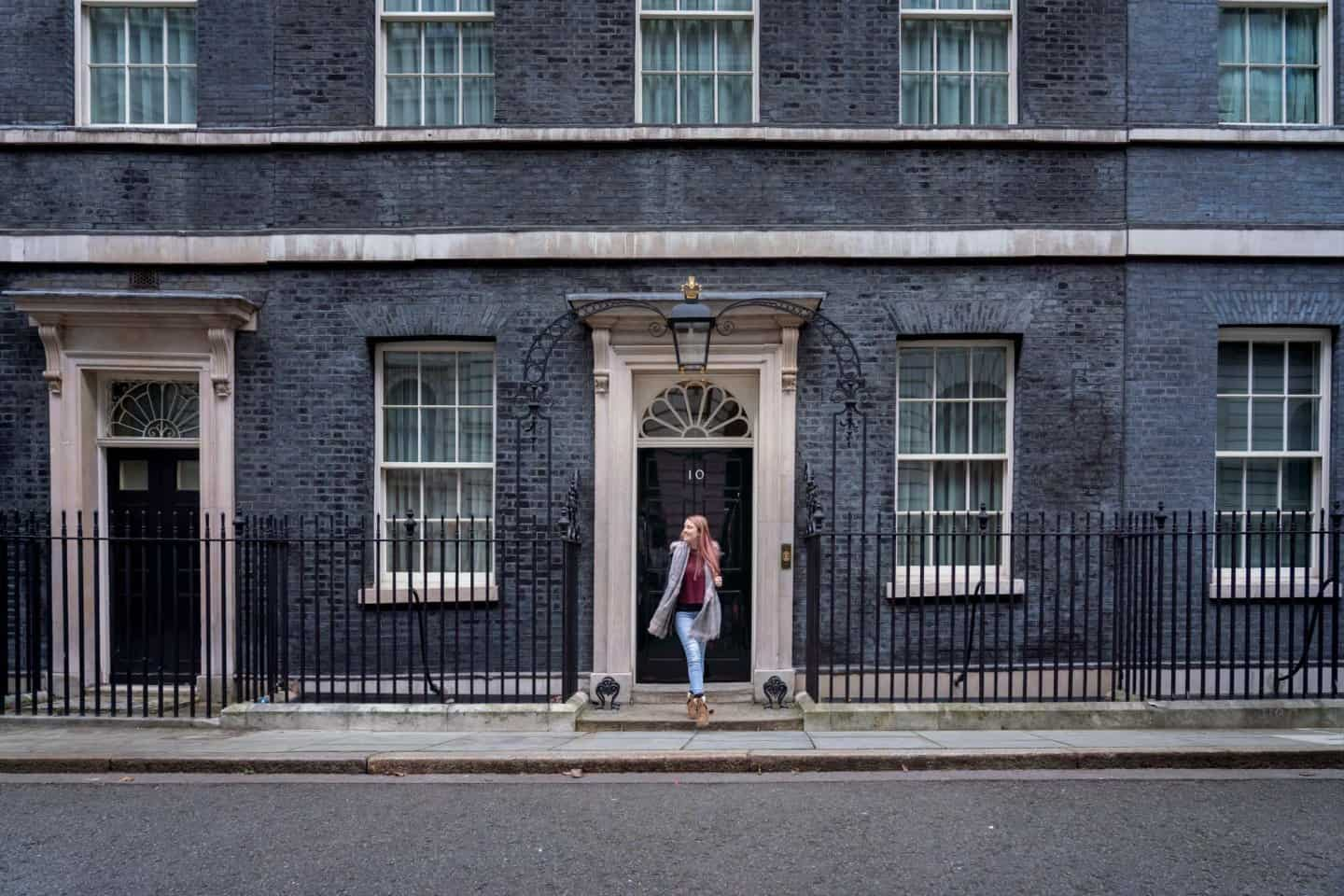 A photo of a girl outside the home of the prime minister - 10 Downing Street