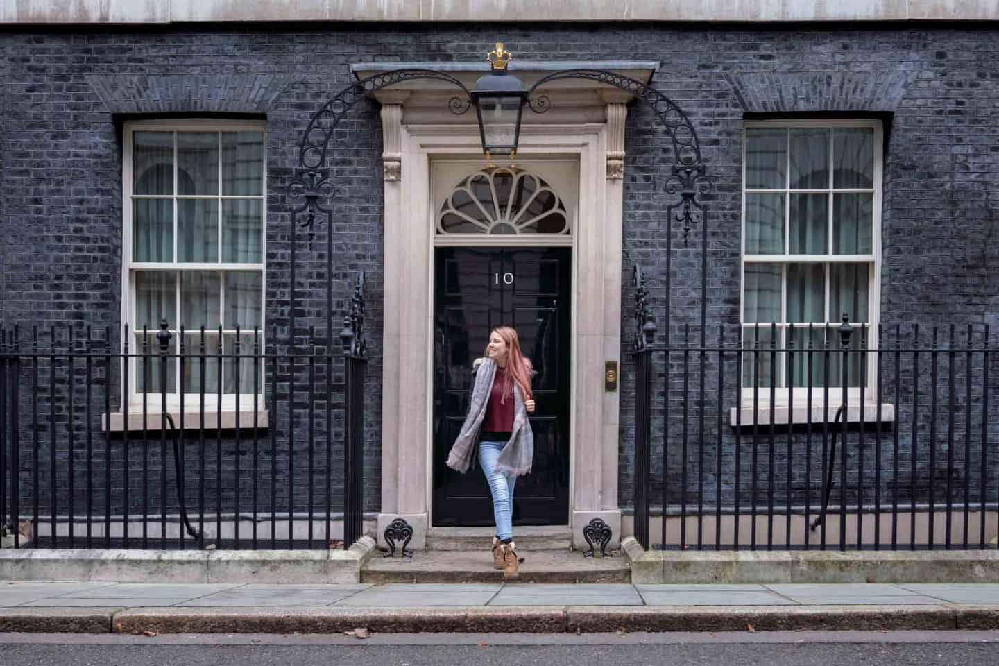 Exploring Downing Street for an Instagram photo.