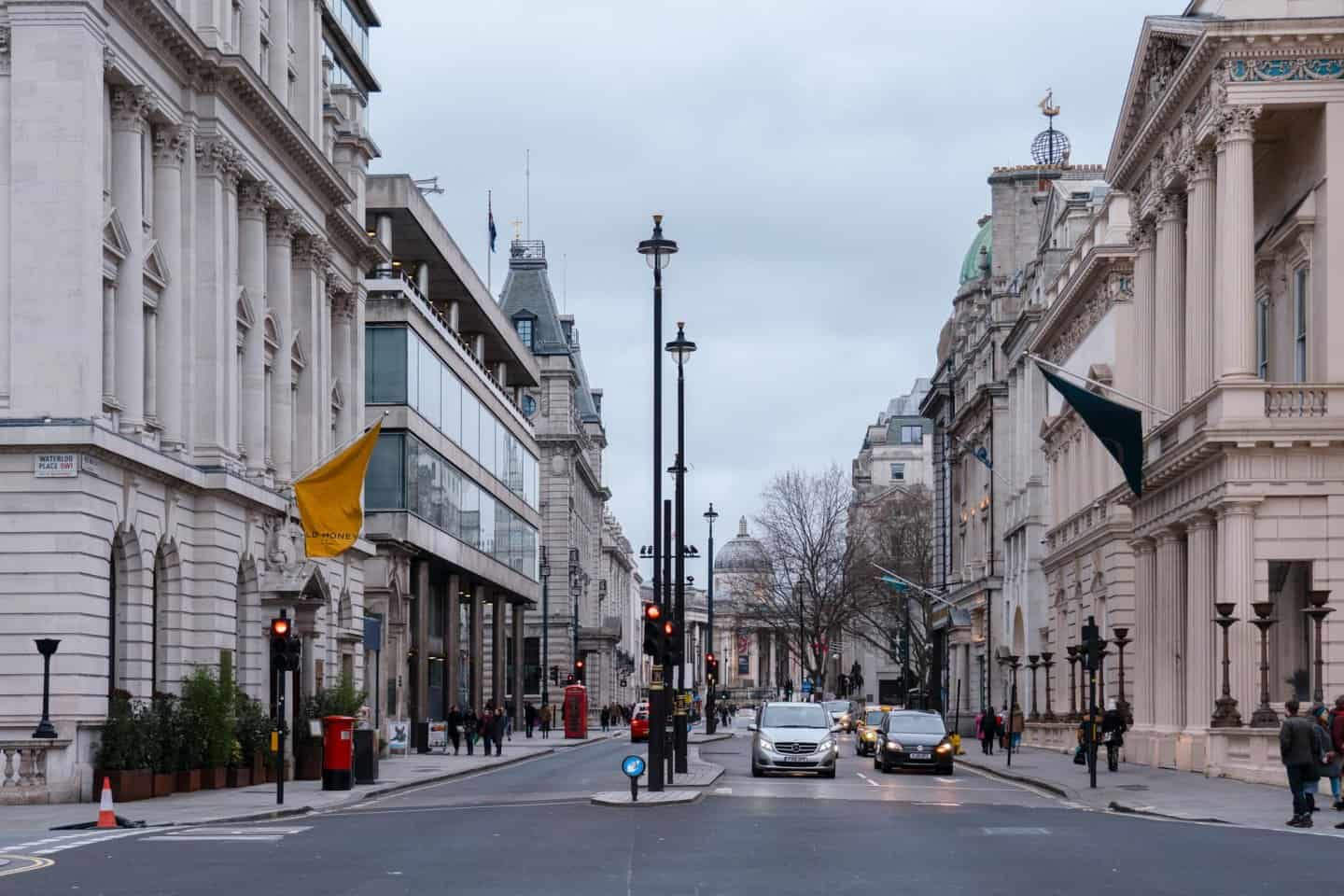 Looking along one of London's most famous streets, Pall Mall, towards Trafalgar Square