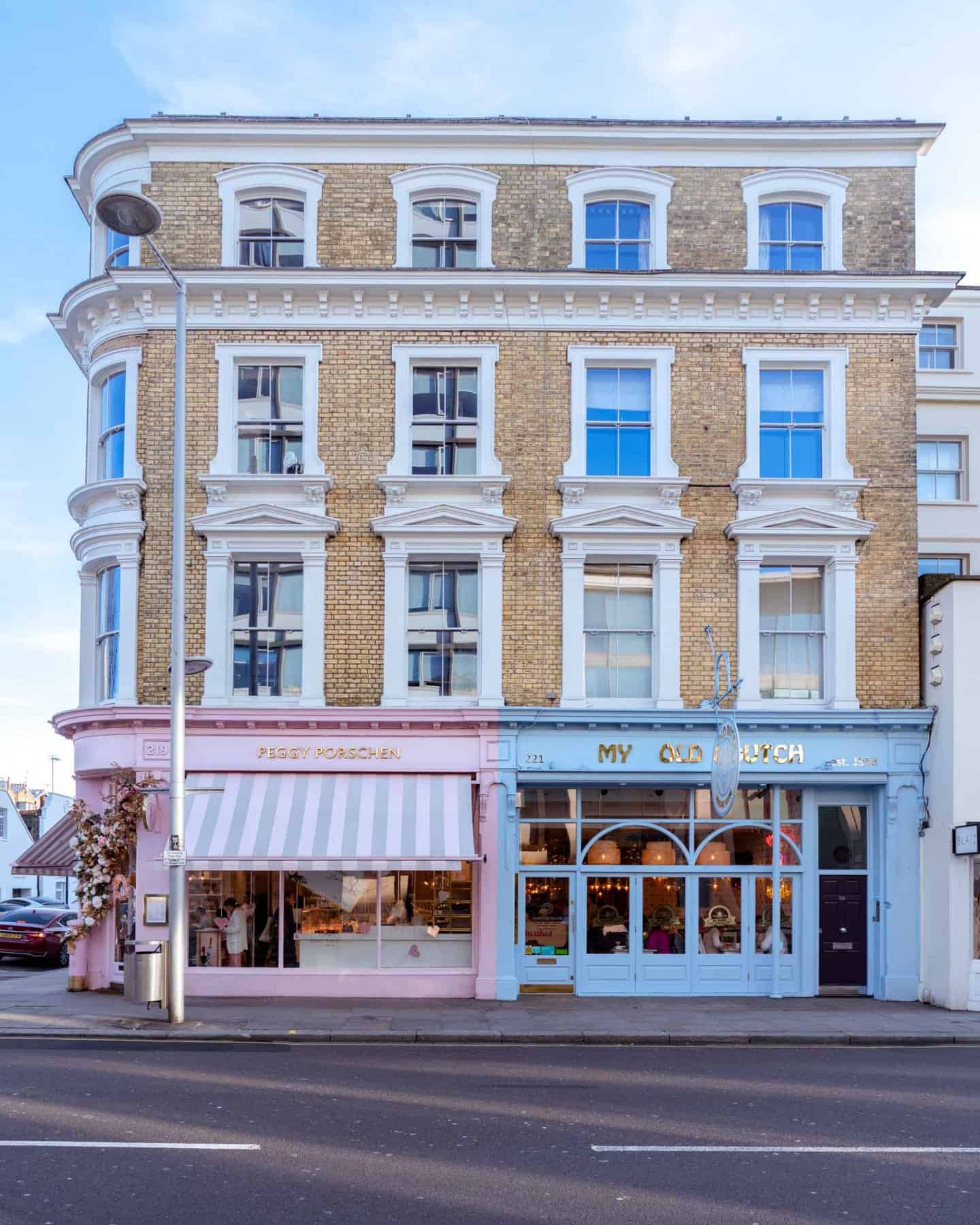 Peggy Porschen and My Old Dutch beautiful buildings on famous King's Road London
