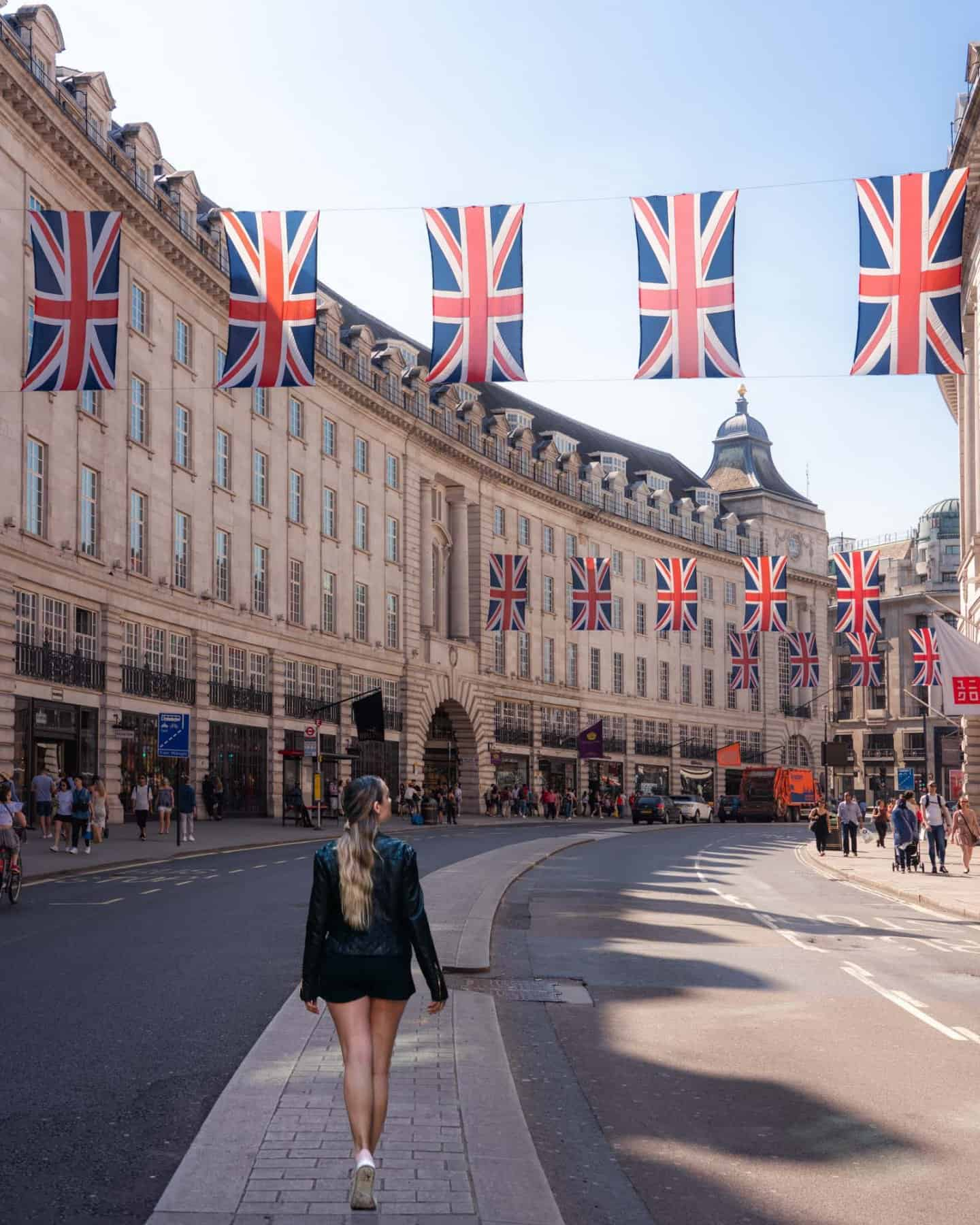 One of the most famous streets in London, Regent Street adorned with Union Jacks