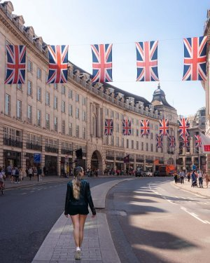 One of the most famous streets in London and a bucket list item, Regent Street adorned with Union Jacks