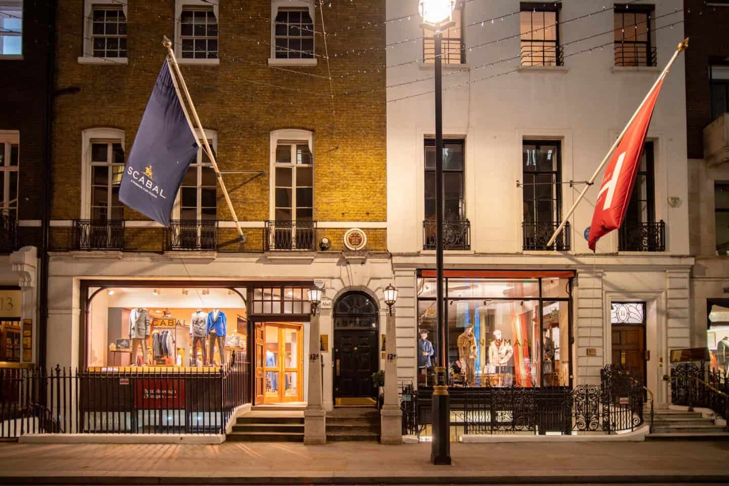Two fine tailoring shops on Savile Row, a famous London street for shopping