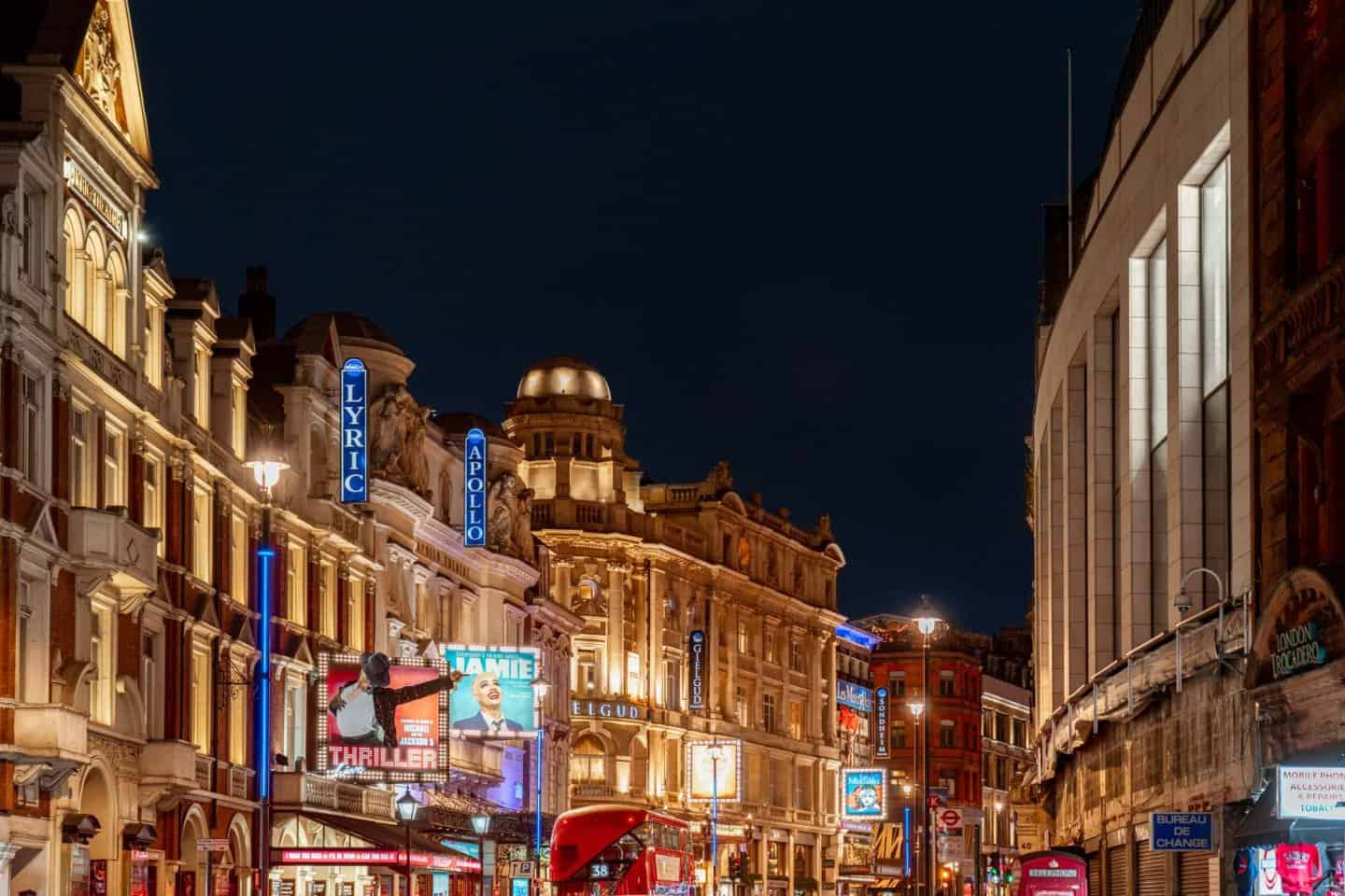 The bright lights of Shaftesbury Avenue in Soho, London.