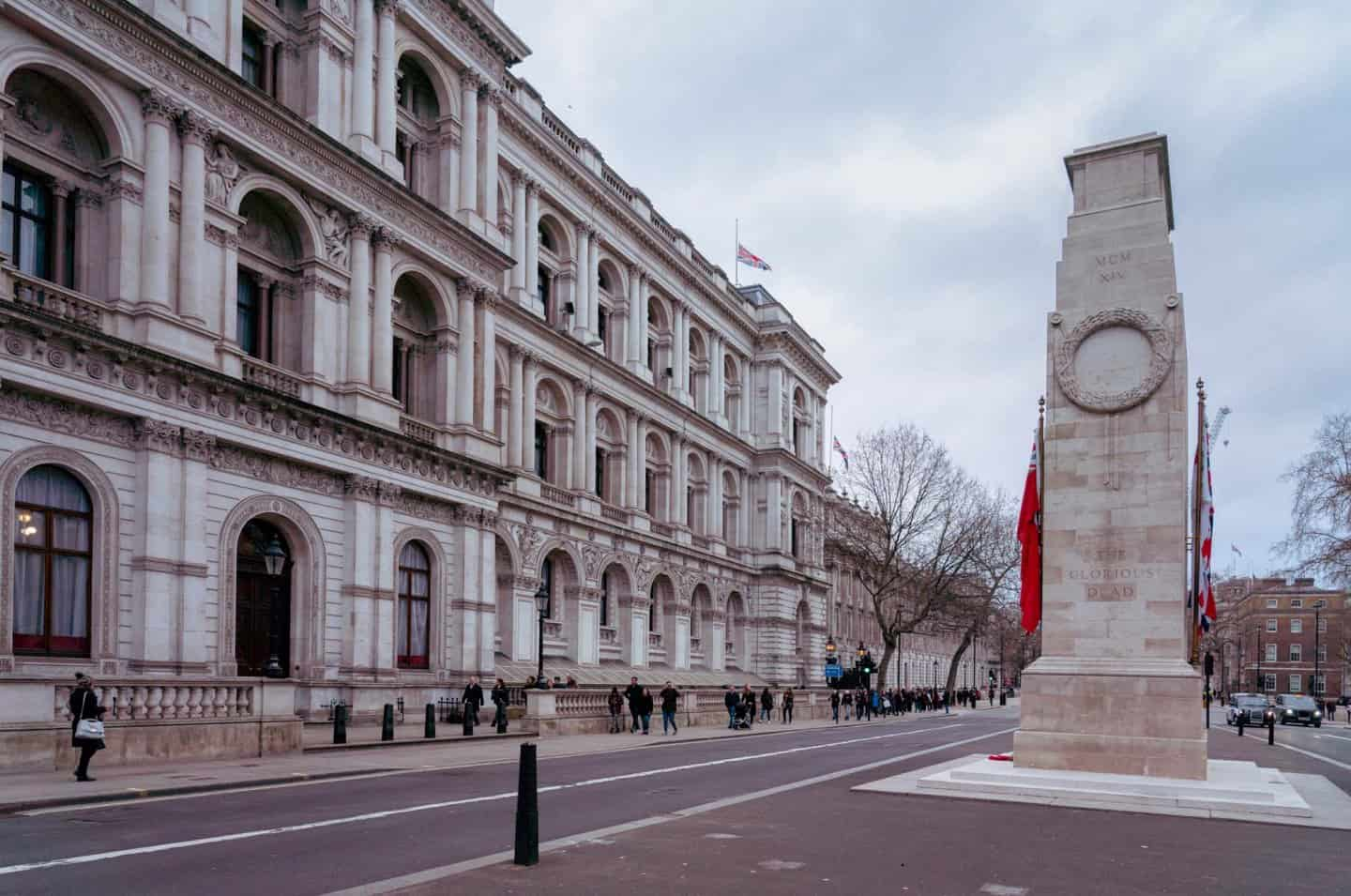 A photo of the cenotaph war memorial on one of London's most famous streets; Whitehall.
