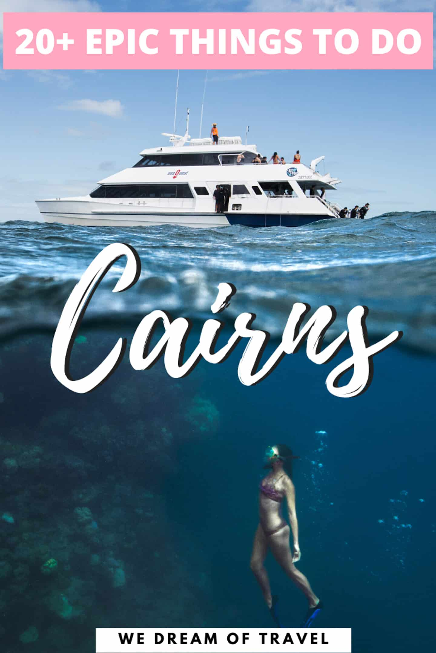 Complete list of the best thing to do in Cairns Australia.  From the Great Barrier Reef to the most beautiful waterfalls and beaches.  As well as the best places to eat and drink!  A bucket list guide to Cairns.