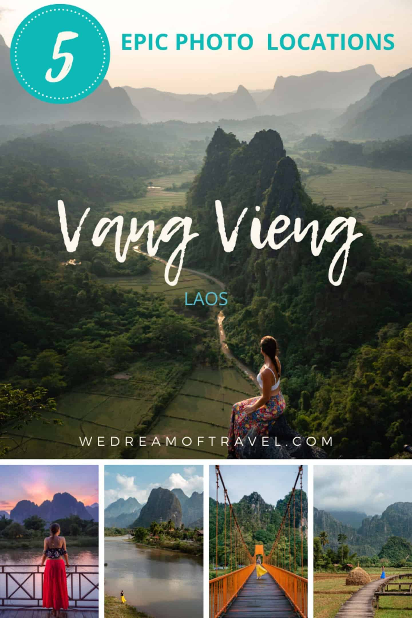 The most instagrammable locations in Vang Vieng.  The top 5 photo spots in Vang Vieng, Laos to help you find those perfect Instagram-worthy locations.  #instagrammable #travelguide #laos #vangvieng #southeastasia #photography