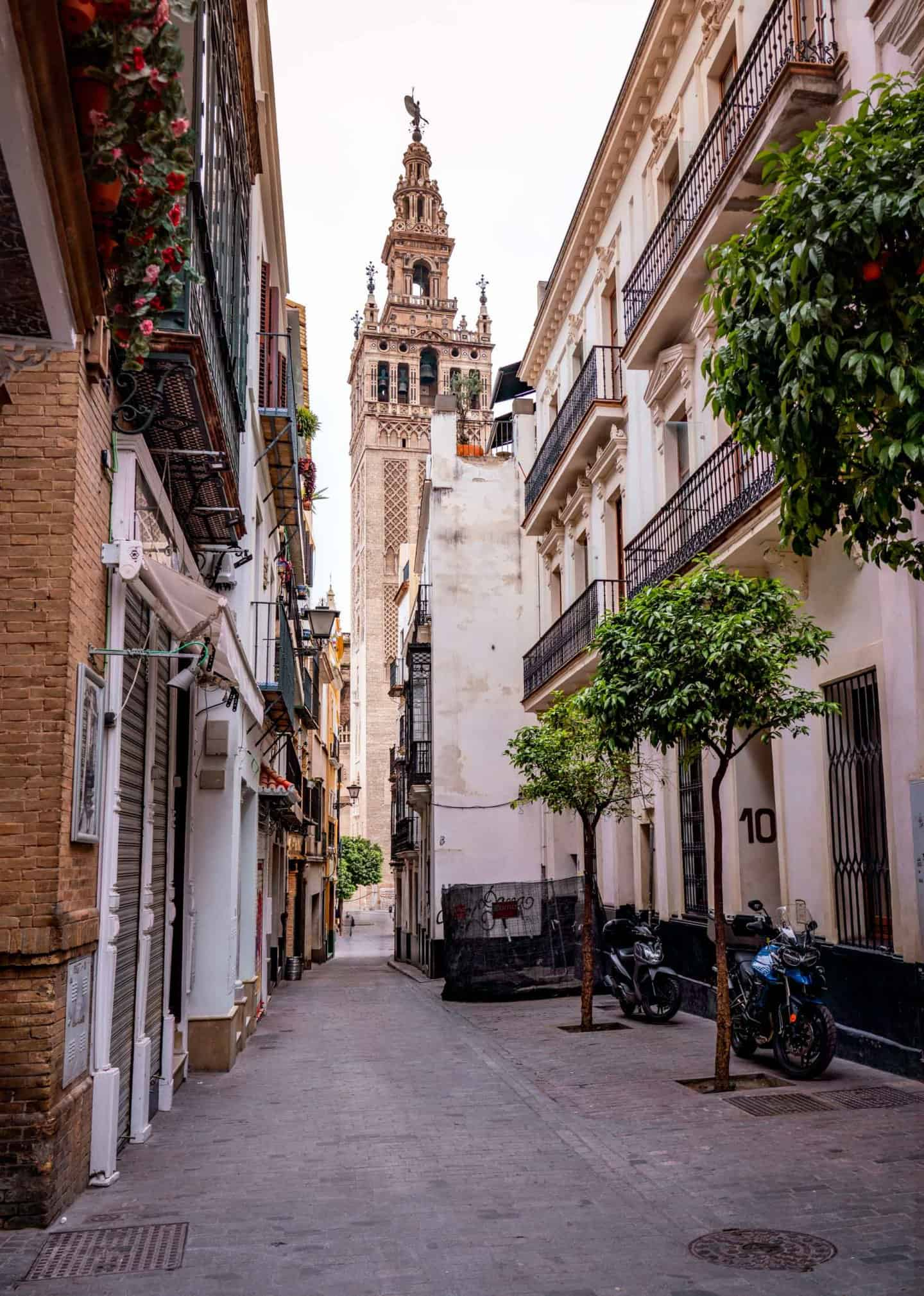 View of La Giralda from Calle Placentines Seville taken during 3 days in Seville