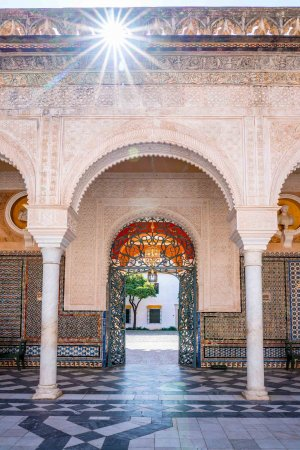 Intricate arched entranceway of Casa de Pilatos Seville taken during 3 days in Seville