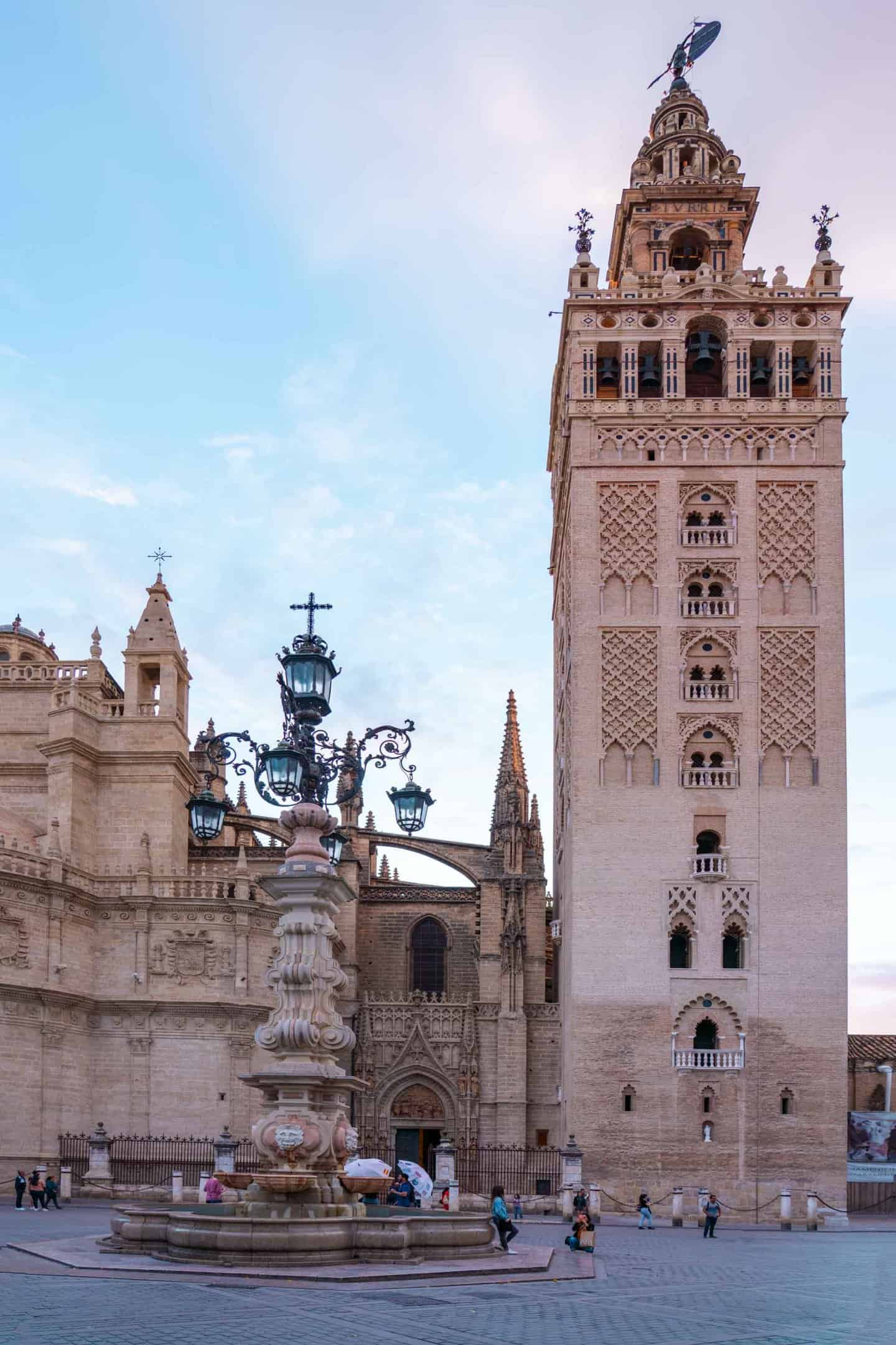 Catedral de Sevilla and La Giralda Bell Tower as seen from Plaza Virgen de los Reyes