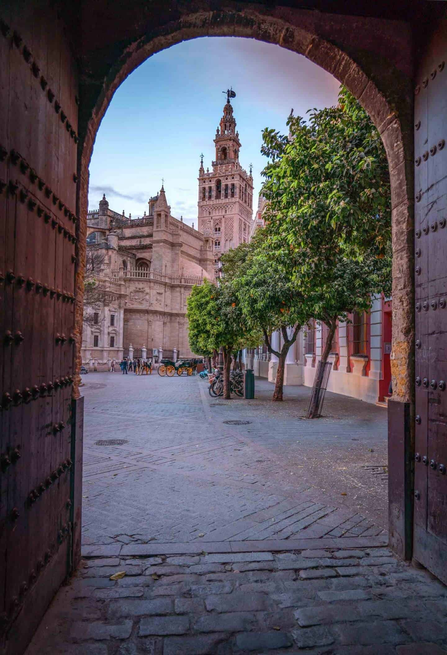 View of Seville Cathedral from Patio de Banderas