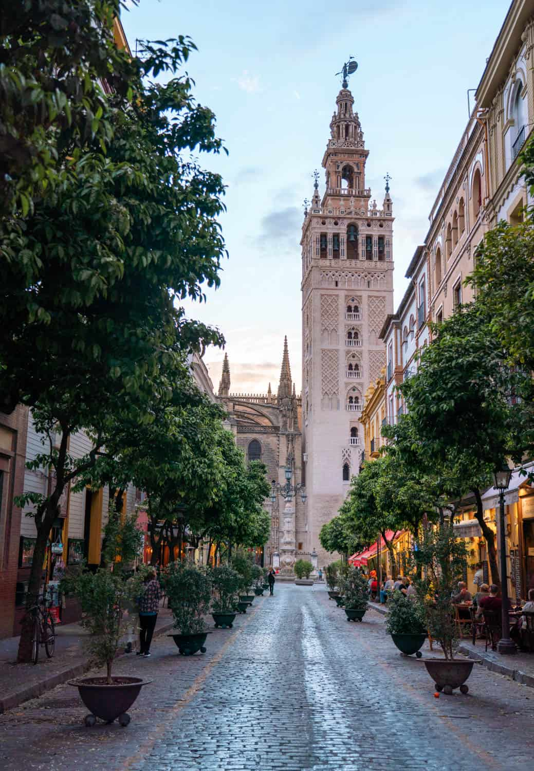 View of La Giralda Bell Tower from Calle Mateos Gago Seville