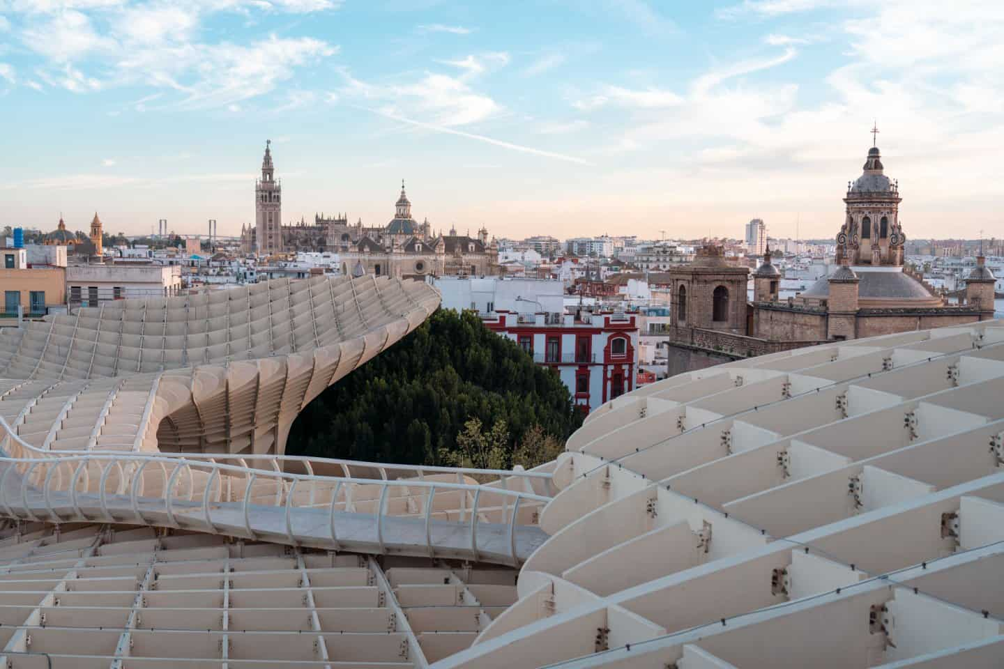 Metropol Parasol walkway with Seville Cathedral, one of the most instagrammable spots in Seville
