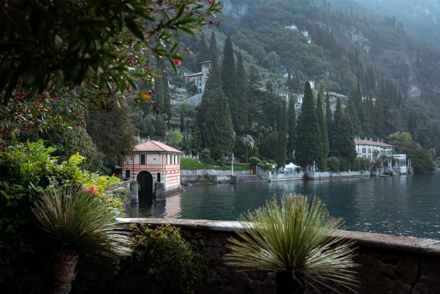 A view of the Mediterranean cypress trees lining the shore of Lake Como from Villa Cipressi.