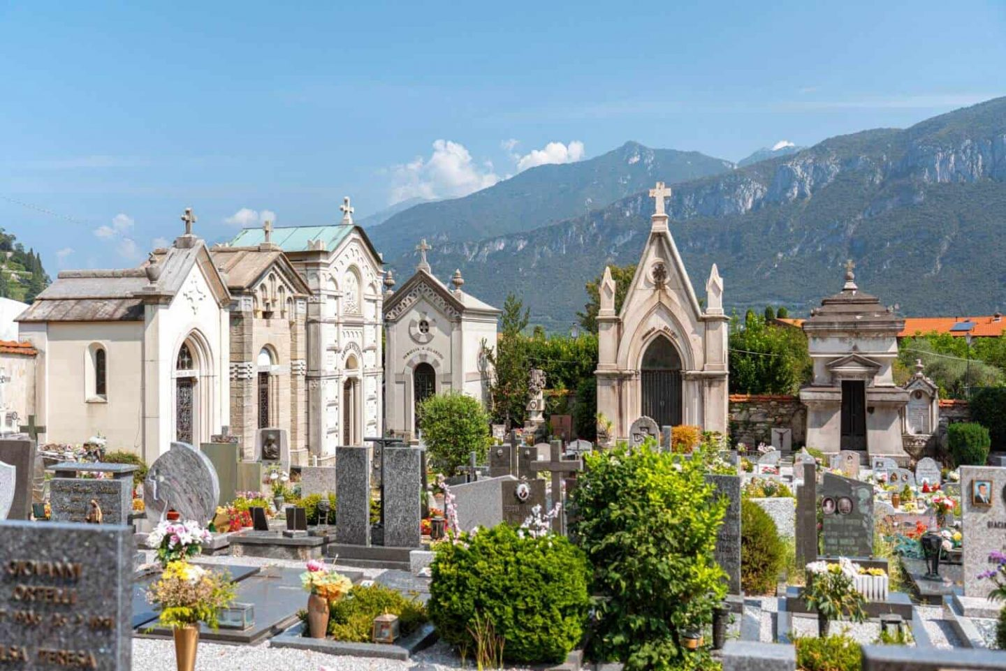 Beautiful cimitero del borgo with mountainous backdrop in Pescallo, Bellagio, Lake Como