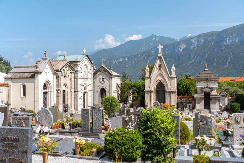 Beautiful cimitero del borgo with mountainous backdrop in Pescallo, Bellagio, Lake Como