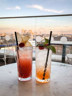 Two cocktails with a view over the London skyline - the perfect end to London in 2 days